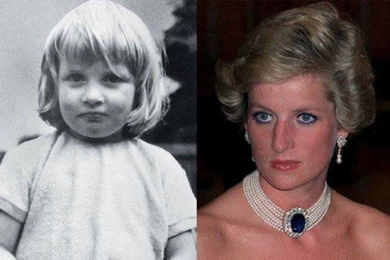 Princesa Diana de niña y adulta