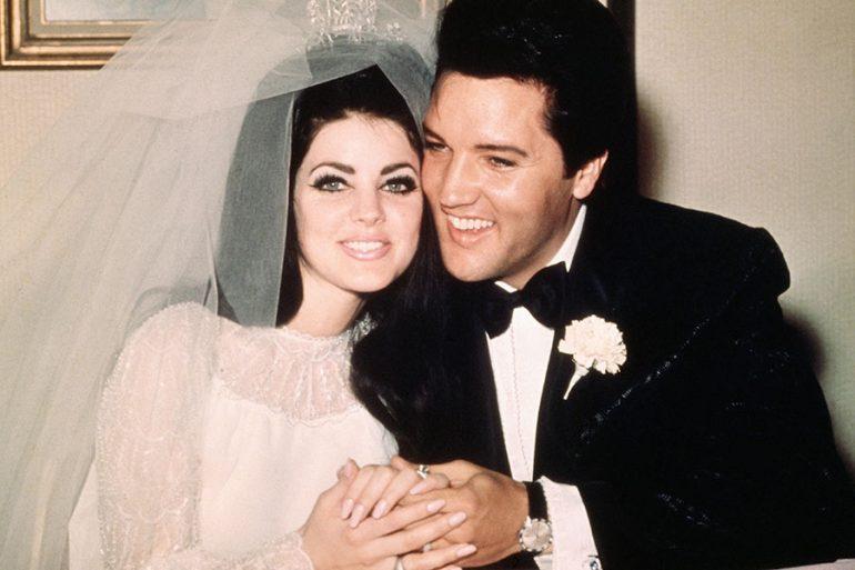 Priscilla y Elvis Presley el día de su boda en 1967