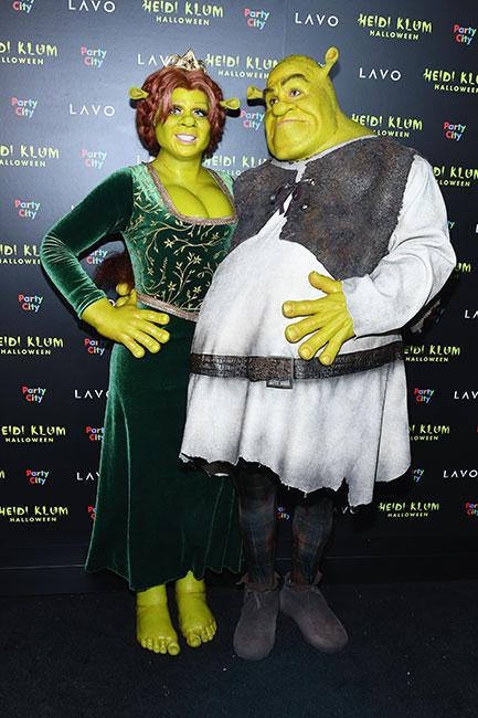 Heidi Klum y Tom Kaulitz de Fiona y Shrek para Halloween