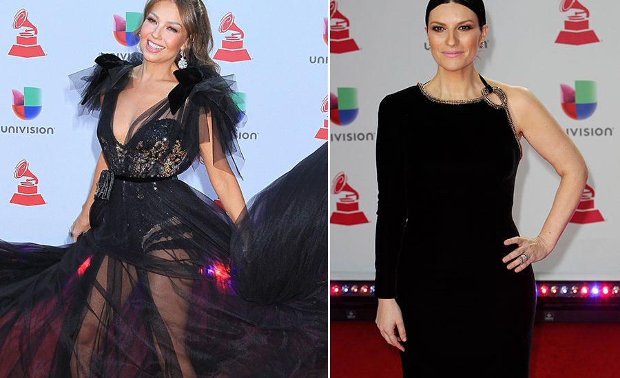 Thalía y Laura Pausini en los Latin Grammy