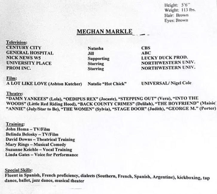 CV de Meghan Markle