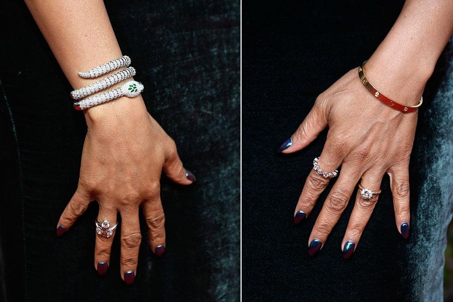 Estos fueron los anillos que llevó Taraji a la ceremonia. (Fotos: Getty Images)