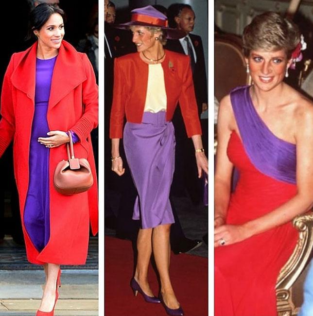 Meghan en color block como la princesa Diana