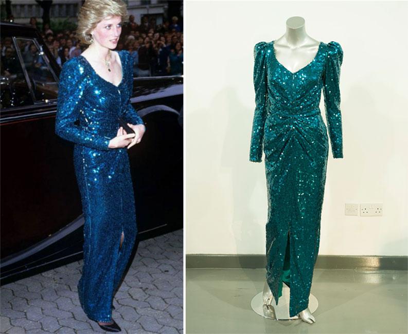 Vestido azul de lentejuelas de la princesa Diana
