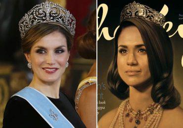 Letizia y Meghan Markle con la tiara Flor de Lis