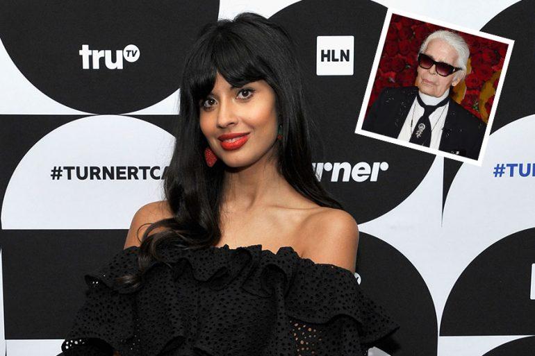 Jameela Jamil y Karl Lagerfeld