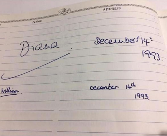 Firma de William y Diana