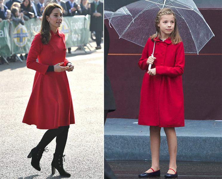 Kate Middleton e infanta Sofía con el mismo abrigo