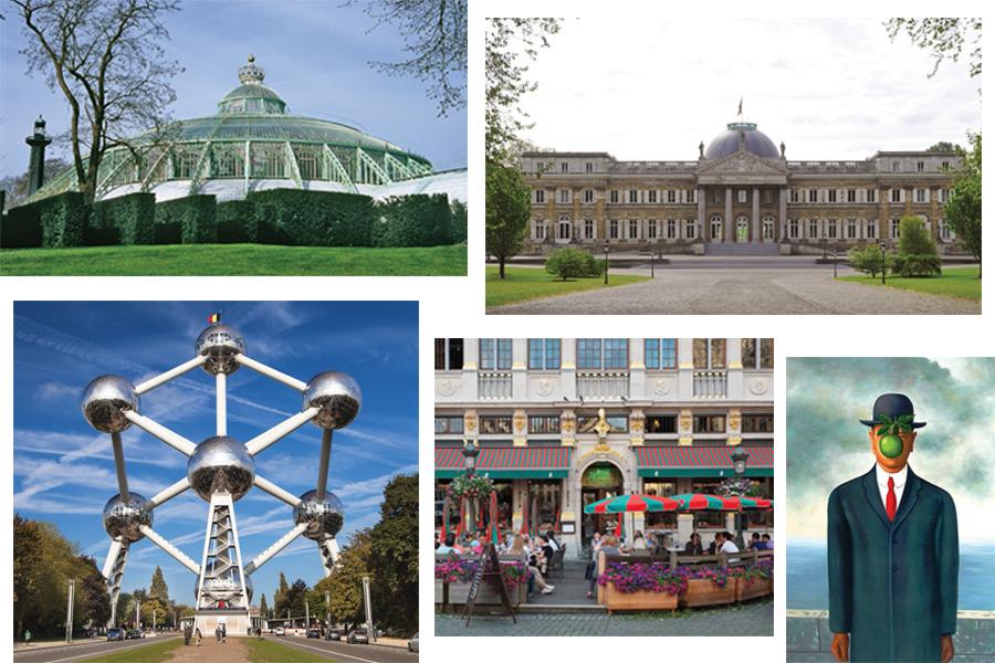Jardín Botánico, Atomium, Palacio de Laeken, brasserie, obra de Mussé Magritte.