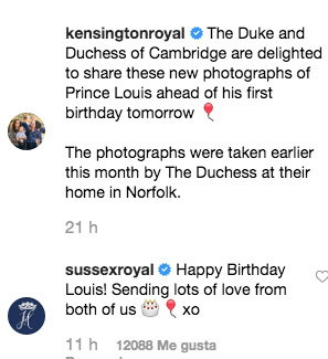 Felicitación de los Sussex a Louis