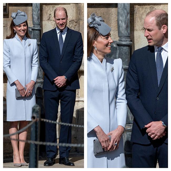 Kaye y William en la misa de Pascua y cumpleaños de la reina Isabel