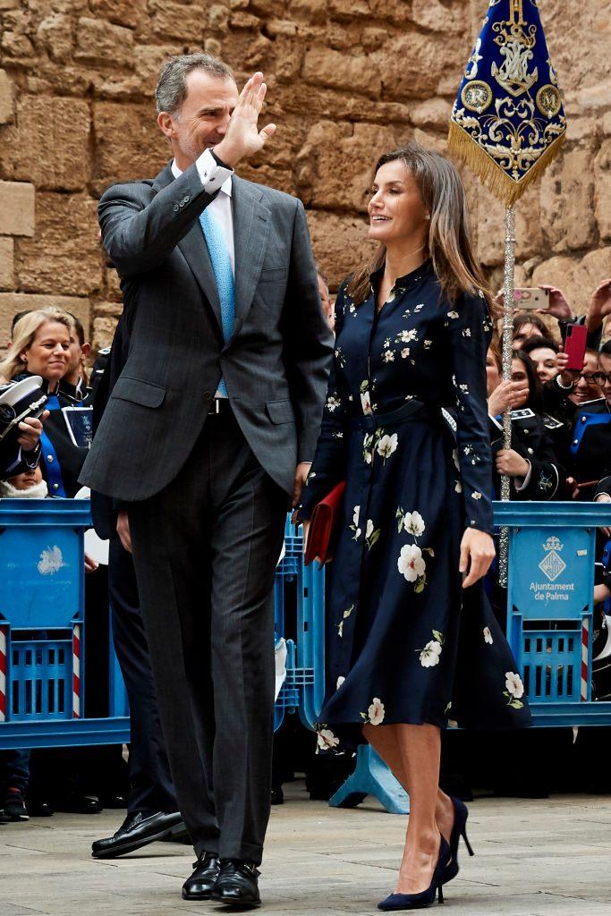 Felipe y Letizia en la misa de Pascua de la familia real española