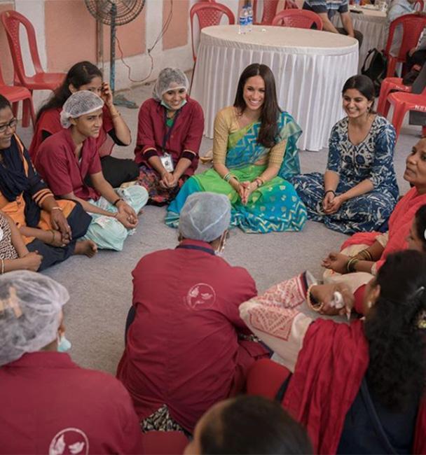Meghan en su viaje a India en 2017