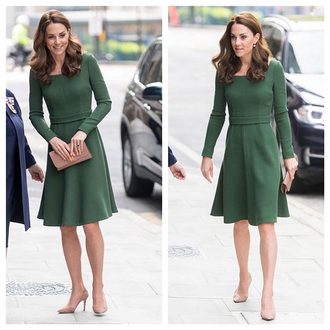 Kate en el Anna Freud Centre Of Excellence con vestido de Emilia Wickstead
