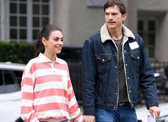 Mila Kunis y Ashton Kutcher-paseo-manos