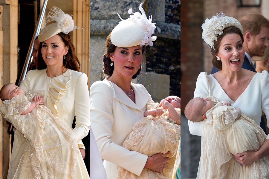 Kate Middleton en los bautizos de George, Charlotte y Louis. (Foto: Getty Images)