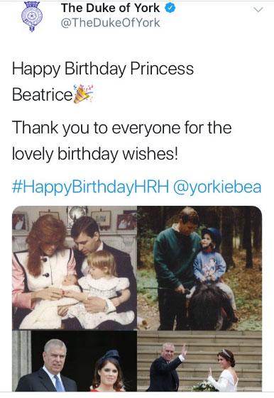 Felicitación errónea a la princesa Beatriz