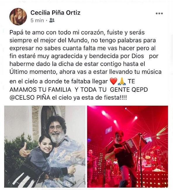 Mensaje de hija de Celso Piña