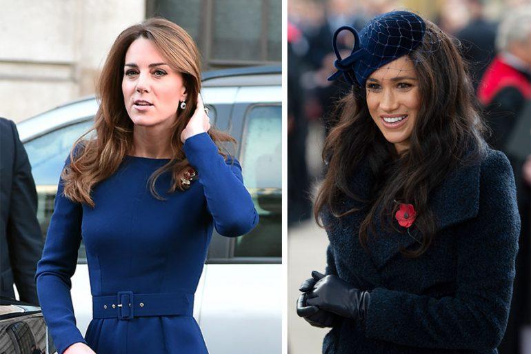 Kate y Meghan de azul marino