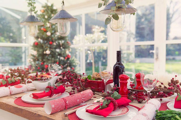 Cena de Navidad decoracion de la mesa