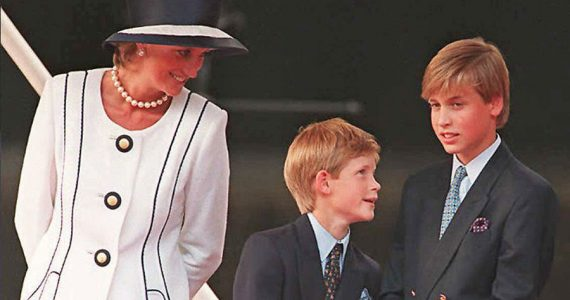 Diana con Harry y William