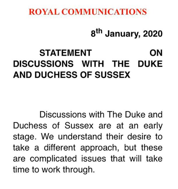 Comunicado de la reina Isabel ante renuncia de los Sussex