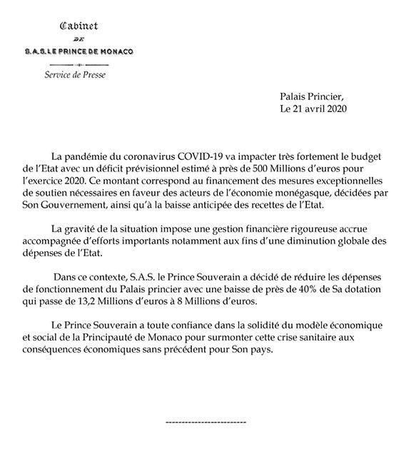 Comunicado de Mónaco sobre presupuesto por coronavirus