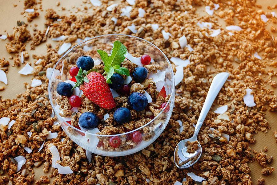 Frutas y cereales, alimentación sana