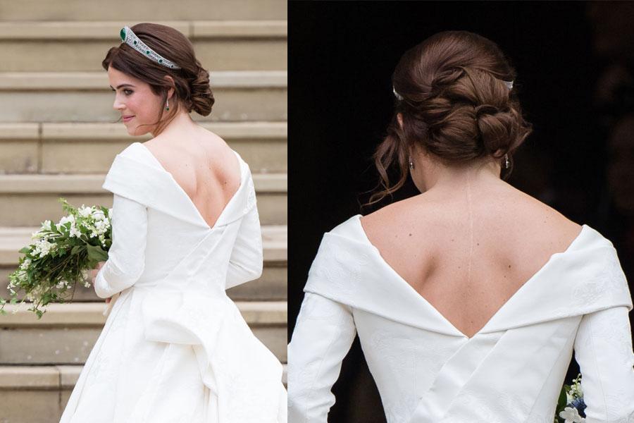 Princesa Eugenia con su vestido de novia y la cicatriz por escoliosis