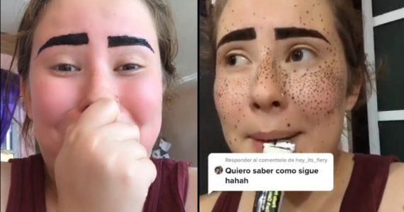 Una chica siguió un tutorial de maquillaje en TikTok ¡y el resultado fue desastroso!