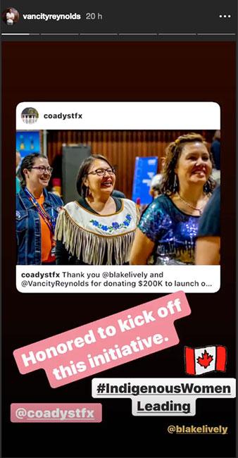 Ryan Reynolds y Blake Lively donan 200 mil dólares en favor de las mujeres indígenas