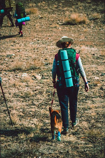 Mujer haciendo hicking con perrito