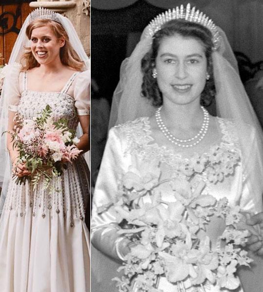 Tiara de la reina Isabel en la boda de Beatriz
