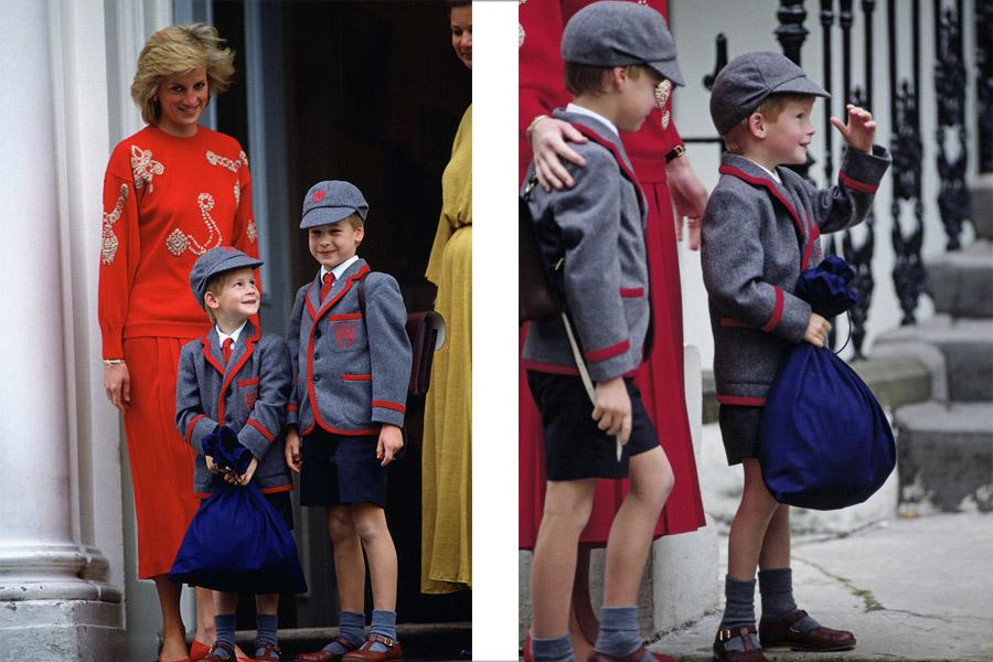 Diana, Harry y William en 1989