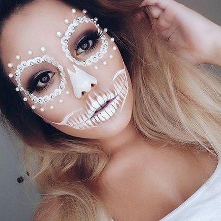 maquillaje de catrina sencillo blanco