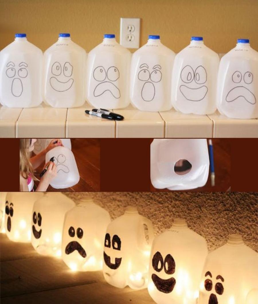 decoraciones de halloween materiales reciclables fantasmas