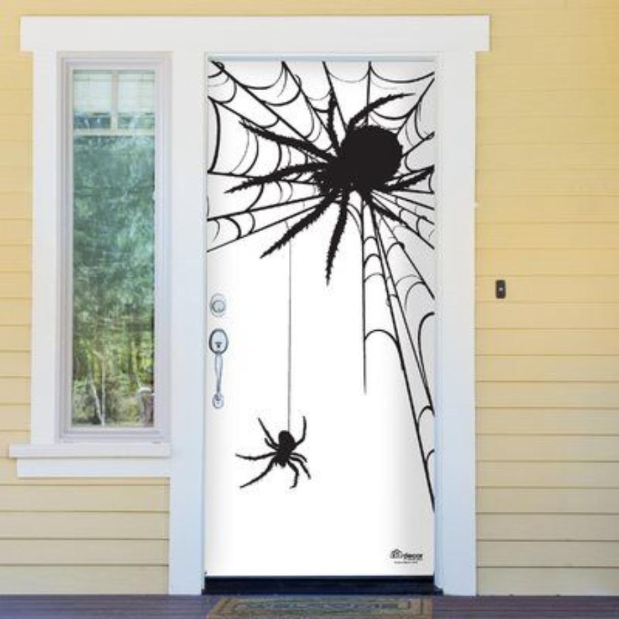 decoraciones de halloween para puertas de telaraña y araña