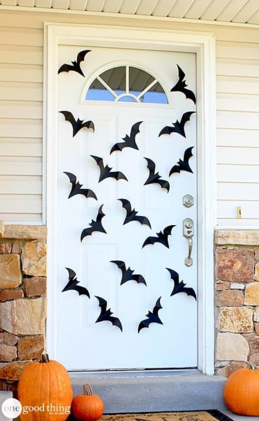 decoraciones para halloween para puertas murciélagos