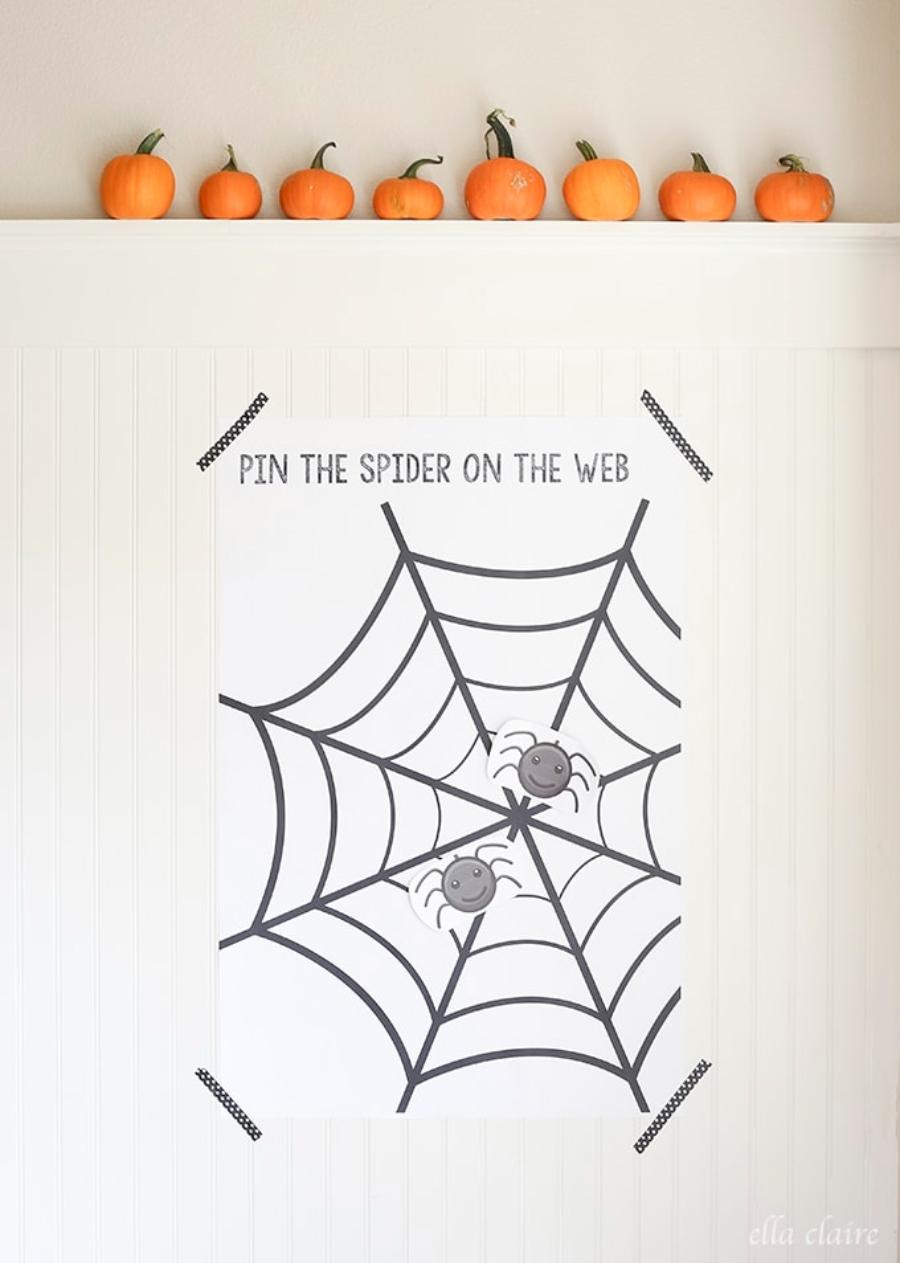ponle la araña a la telaraña juego halloween