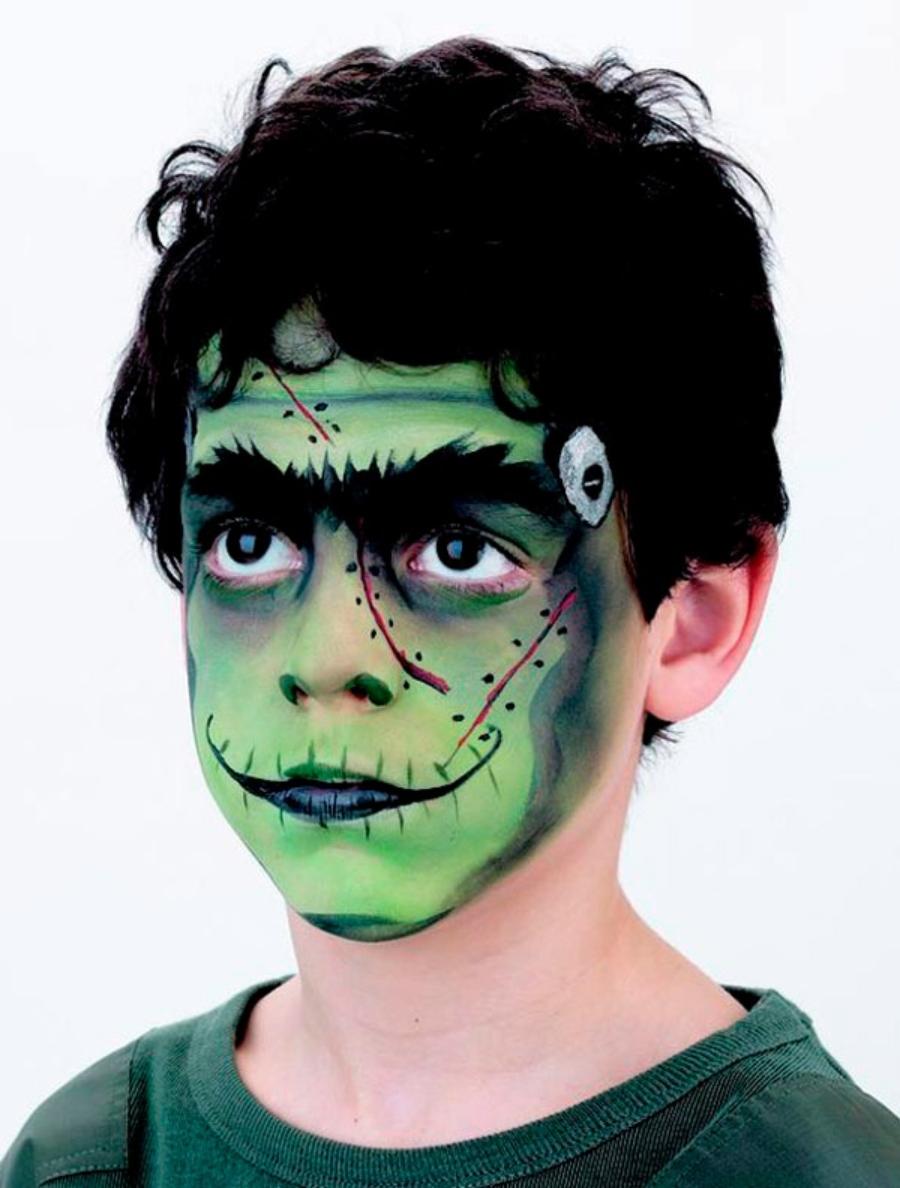Disfraz y maquillaje de frankenstein para niños
