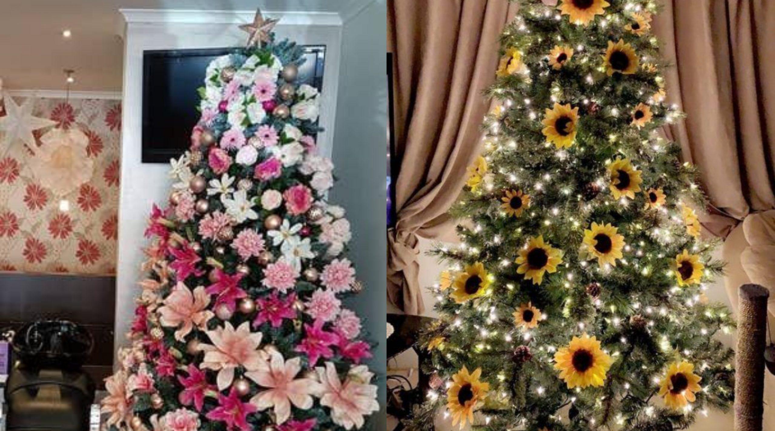 arboles de navidad decorados con flores y girasolres