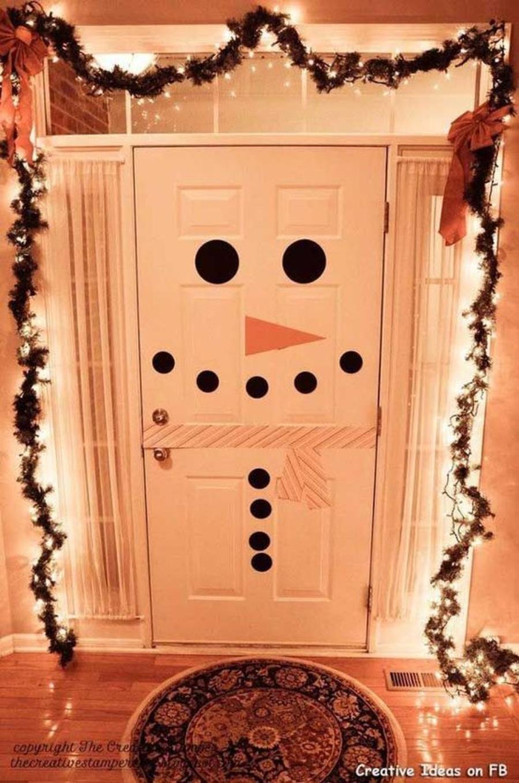 decoracion de puertas para navidad muñeco de nieve