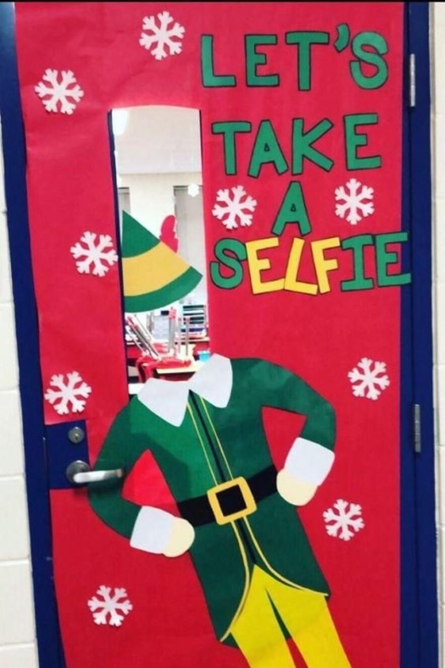 decoracion para navidad para puerta duende selfie