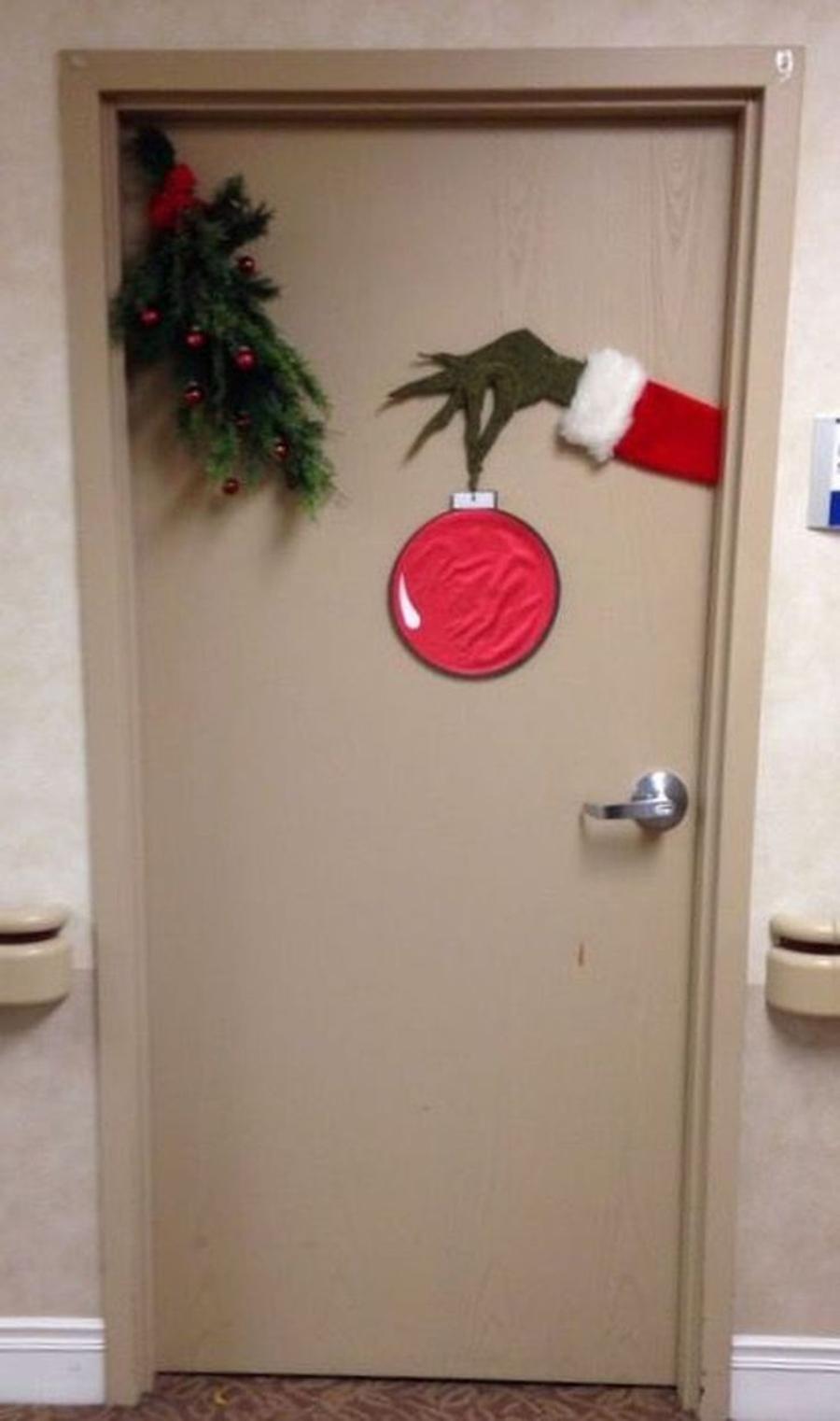 decoraciones navideñas para puertas de el grinch
