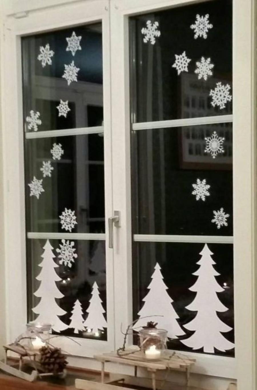 decoraciones navideñas para ventanas con plumón