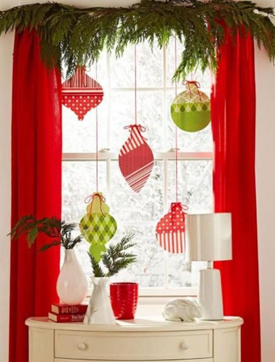 decoraciones navideñas para ventanas esferas de papel