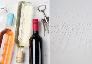 braille y etiqueta de vino