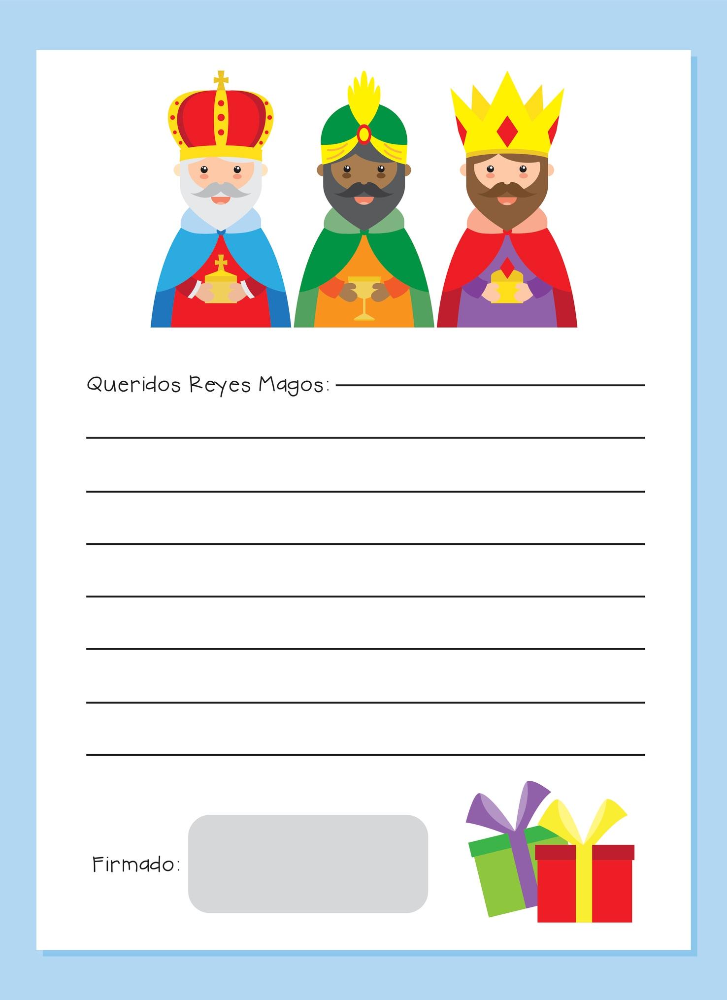 reyes magos carta para imprimir