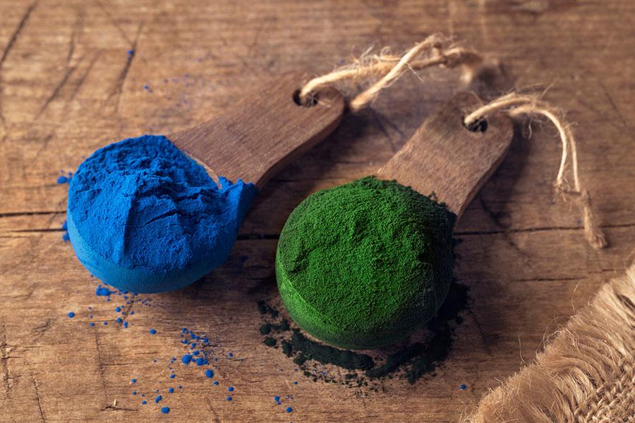 Espirulina azul y verde