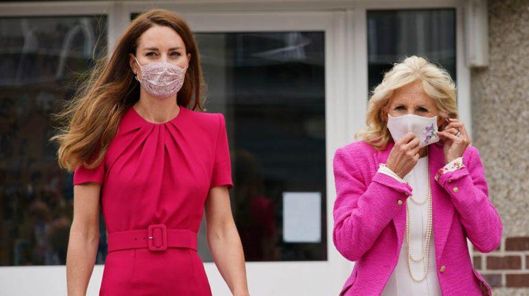 Jill Biden y Kate Middleton llevaron dos coloridos Pantone rosa para su primera reunión juntas